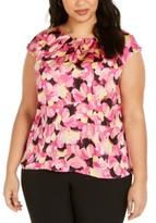 Kasper Plus Size Floral-Print Sleeveless Top