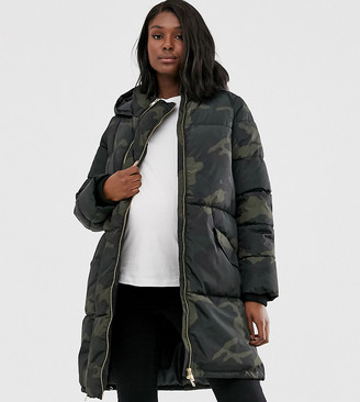 Mama Licious Mamalicious Maternity 2 in 1 padded jacket with post birth functionality in green camo