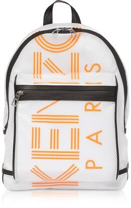 Kenzo White PVC & Mesh Sport Logo Backpack