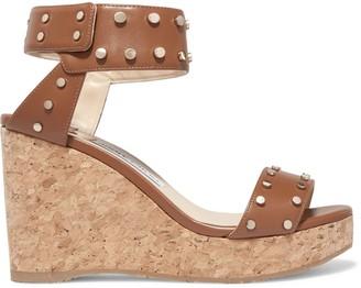 Jimmy Choo Studded Leather Platform Wedge Sandals