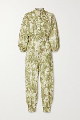 Zimmermann Brighton Printed Linen Jumpsuit - Army green