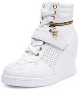 D2C Beauty Women's Velcro Lace-up Suede Leatherette Wedge Sneakers - 7 M US