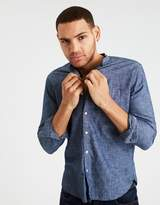 American Eagle Outfitters AE BANDED COLLAR BUTTON-DOWN CHAMBRAY SHIRT