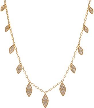 Melinda Maria Simulated Gemstone Leaf Fringe Necklace -Reese