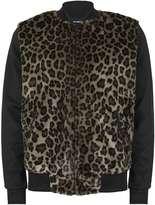 Topman AAA Leopard Print Faux Fur Front Bomber Jacket