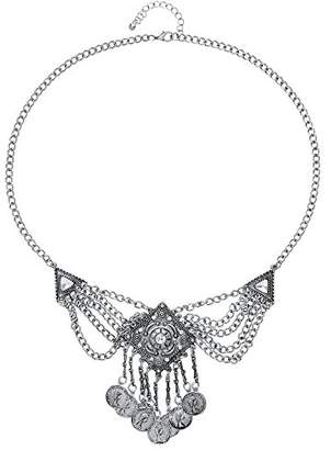 Front Row Silver Colour Chain Statement Necklace of Length 58-61cm