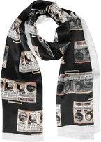 Paul Smith Black Silk Boom Box Print Silk Men's Scarf