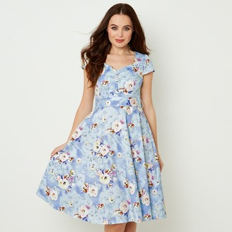 Joe Browns Button-Through Flared Midi Dress in Floral Print Cotton