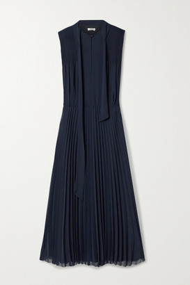 Jason Wu Tie-neck Pleated Crepe De Chine Midi Dress - Navy