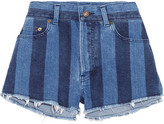 Saint Laurent Cut-off Striped Stretch-denim Shorts - Mid denim
