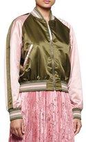 Alexander McQueen Baseball Two-Tone Bomber Jacket, Khaki/Fox Glove