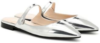 Prada Metallic leather slippers