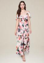 Bebe Ruffle Shoulder Maxi Dress