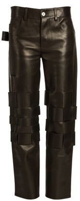 Bottega Veneta Woven Leather Straight Carpenter Pants
