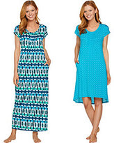 Carole Hochman Kaleidoscope and Ikat Gown and Sleepshirt Set