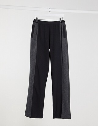 UNIQUE21 contrast panel suit trousers in black & grey