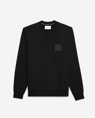 The Kooples Crew-neck black cotton sweatshirt, logo patch