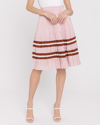 Express Endless Rose High Waisted Pleated Midi Skirt