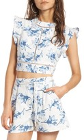 J.o.a. Women's Tie Back Linen Crop Top
