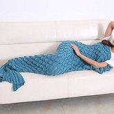 "Senmar Mermaid Tail Blanket knit crochet and Mermaid Blanket for Adult, Summer Super Soft Sleeping Bags(71""x 35"") (Lake Blue)"