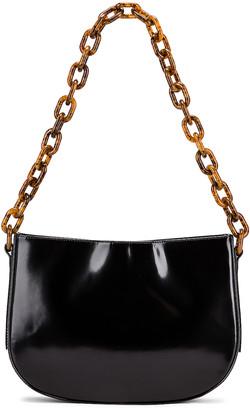 BY FAR Pelle Semi Patent Leather Shoulder Bag in Black | FWRD