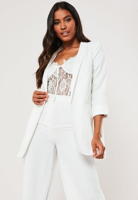 Missguided White Co Ord Basic Boyfriend Blazer