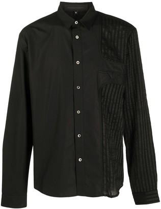 Harrison Wong Long Sleeve Panelled Striped Shirt