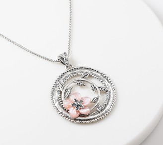 Or Paz Sterling Carved Mother-of- Pearl Flower Pendant w/Chain
