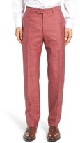 Men's Monte Rosso Flat Front Solid Wool Blend Trousers
