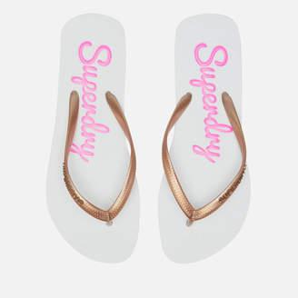 Superdry Women's Super Sleek Flip Flops - Optic White/Rose Gold