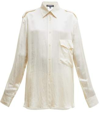 Ann Demeulemeester Nanette Flap-pocket Satin Shirt - Womens - Cream