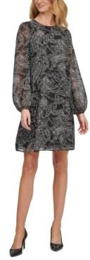 Calvin Klein Paisley Chiffon Trapeze Dress, Regular & Petite Sizes