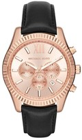 MICHAEL Michael Kors 'Lexington' Chronograph Leather Strap Watch, 44mm