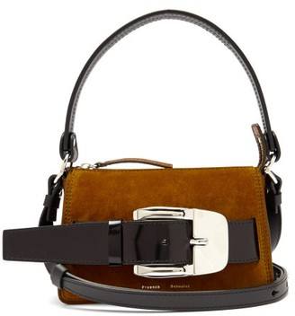 Proenza Schouler Buckle Small Suede Shoulder Bag - Brown Multi