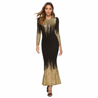 Your New Look Women's Shimmer Splicing Long Evening Dress Round Neck Long Sleeve Cocktail Dress for Weddings Party Events Plus Size Gold
