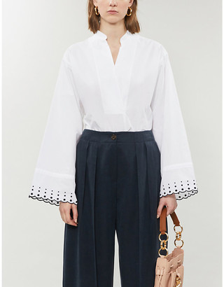 See by Chloe Embroidered cotton-poplin shirt