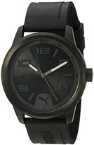 Puma Quartz Stainless Steel and Polyurethane Automatic Watch, Color:Black (Model: PU104041003)
