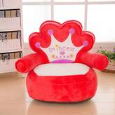 MAXYOYO Prince and Princess Imperial Crown Plush Bean Bag,Pink Blue Chair Seat for Children,Cartoon Tatami Chairs,Birthday Gifts for Boys and Girls