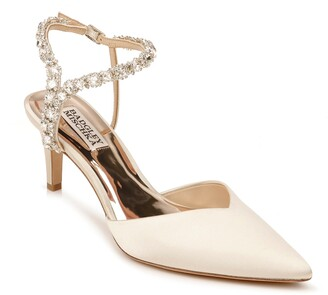 Badgley Mischka Galaxy Embellished Ankle Strap Pointed Toe Pump