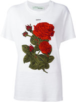 Off-White roses embroidery T-shirt - women - Cotton - XS