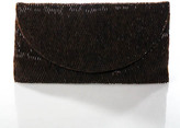 Moyna Brown Small Beaded Rectangular Chainstrap Clutch Bag