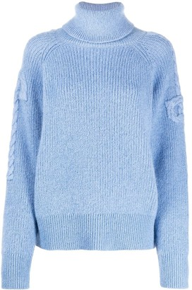 Patou Roll-Neck Braided Arm Sweater