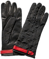 Portolano Black Quilted Leather-Palm Gloves