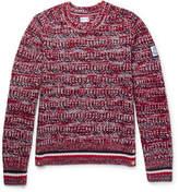 Moncler Gamme Bleu Stripe-trimmed Mélange Virgin Wool Sweater - Red