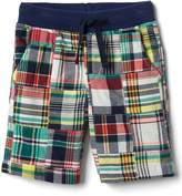 Patchwork plaid pull-on shorts