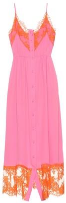 MSGM Silk-blend dress with shorts