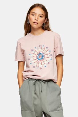 Topshop Womens Pink Earth And Sun T-Shirt - Pink