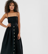Asos DESIGN Tall cami button through midi linen sundress