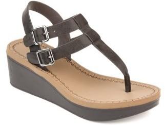 Brinley Co. Womens T-strap Wedge Sandal