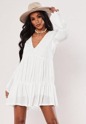 Missguided White Tiered Smock Dress